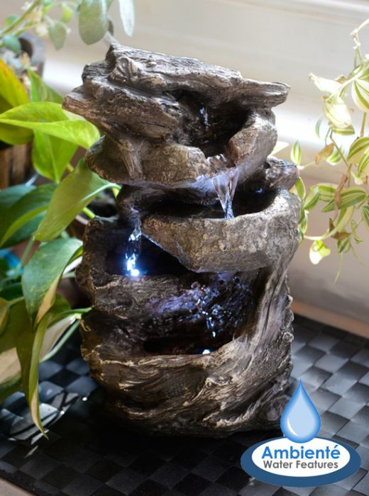 H27.5cm Hayal 3 Tier Cascading Tabletop Water Feature with Lights by Ambienté™
