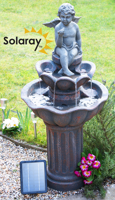 H107cm Minel Solar Bird Bath Water Feature by Solaray