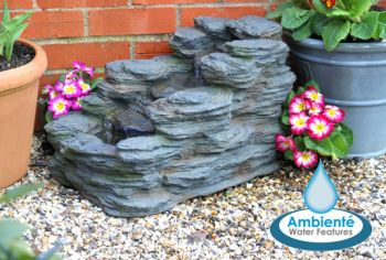 Stoneywell Rock Cascade Water Feature by Ambienté - L52.5cm