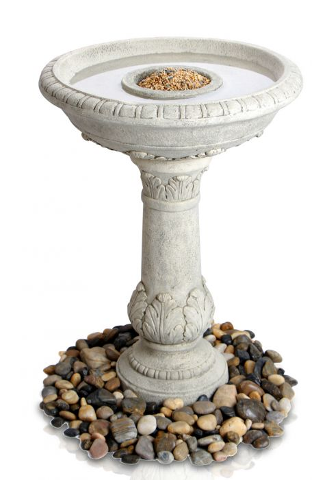67cm Windsor Antique Finish Classic Leaf Stone Birdbath/Feeder