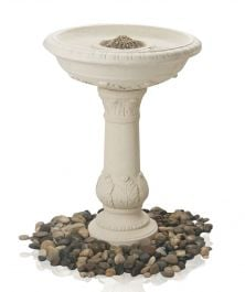 67cm Windsor Cream Finish Classic Leaf Stone Birdbath/Feeder