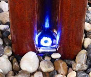 2ft 9in / 86 cm Small Advanced 3 Corten Steel Tubes Water Feature With Lights On Tubes & Base by Ambienté™