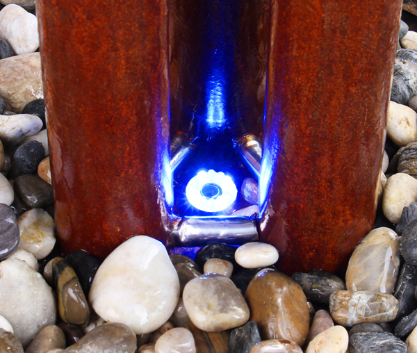 4ft/121cm Medium Advanced 3 Corten Steel Tubes Water Feature With Lights on Tubes & Base