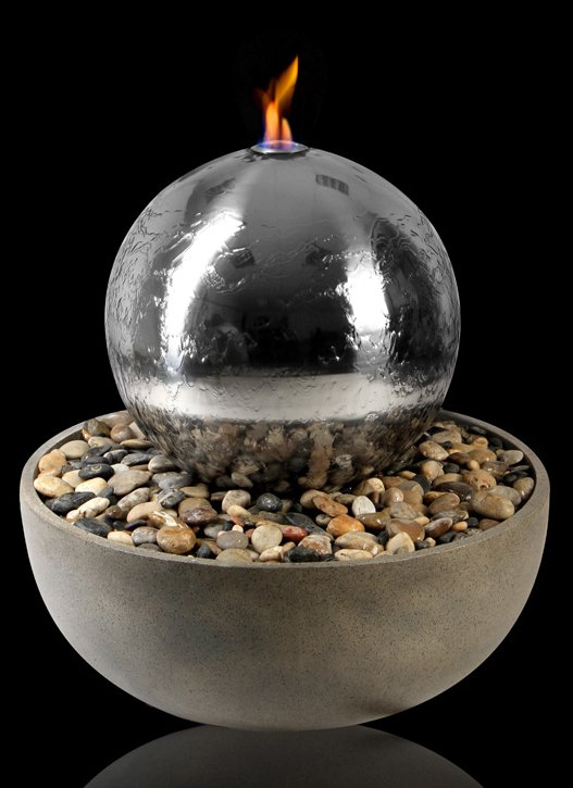 50cm Semeru Stainless Steel Sphere, Fire and Water Feature by Ambienté
