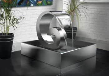 Atlantis 65cm (2ft 13in) Stainless Steel Cascading Water Feature with LED Lights with Stainless Steel Reservoir by Ambient�