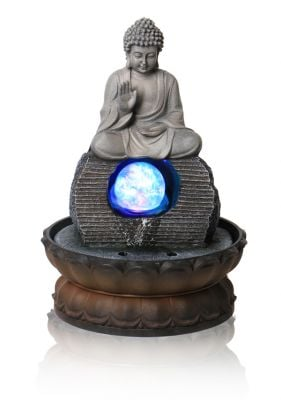 Buddha Table Top Water Feature with Crystal Sphere and Lights by Ambienté - H30cm
