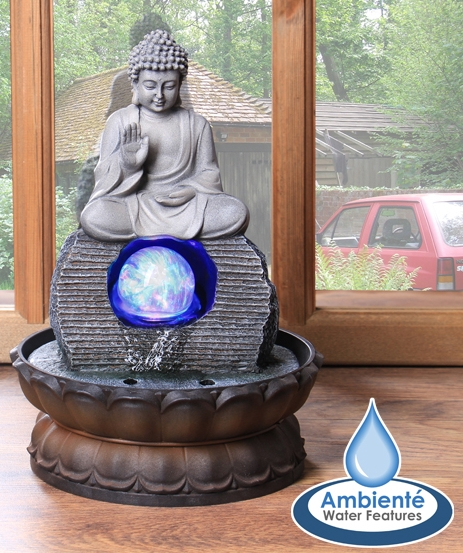 H30cm Buddha Table Top Water Feature with Crystal Sphere and Lights by Ambienté™