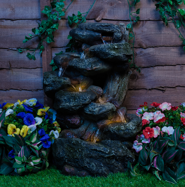 Dakota Falls Rock Water Feature Cascade with LED Lights 55cm by Ambienté™