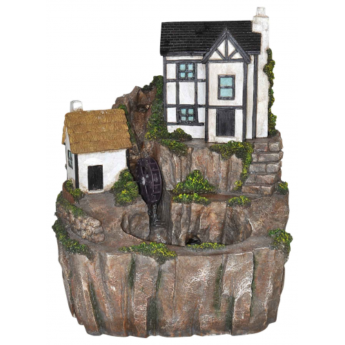 Tudor Cottage Water Feature with LED Lights