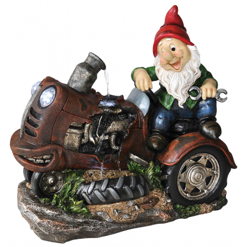 Farmer Gnome Water Feature with LED Lights