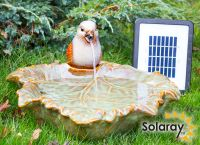 40cm Solar Water Feature Ceramic Sparrow on Leaf by Solaray™