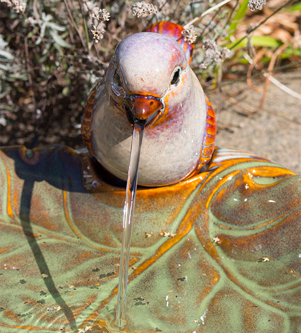 Solar Water Feature Ceramic Dove on Leaf - 40cm dia. by Solaray�