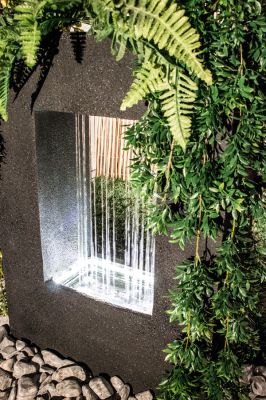 Milano Rain Water Feature with Planter and Lights H77cm by Ambienté™