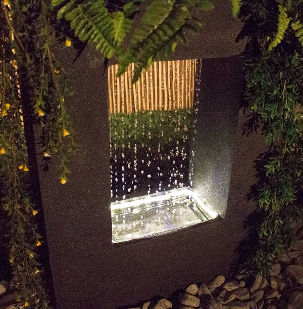 77cm Milano Rain Water Feature With Planter And Lights By