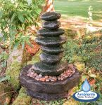 Pebble Effect Column Water Feature with Lights H70cm by Ambienté™