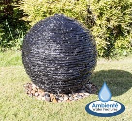 H70cm Torver Slate Effect Sphere Water Feature with Lights by Ambienté