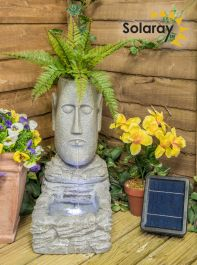 H50cm Easter Island Head Solar Water Feature & Planter with Lights by Solaray