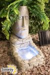Easter Island Head Solar Water Feature and Planter with LED Lights by Solaray™ - H50cm