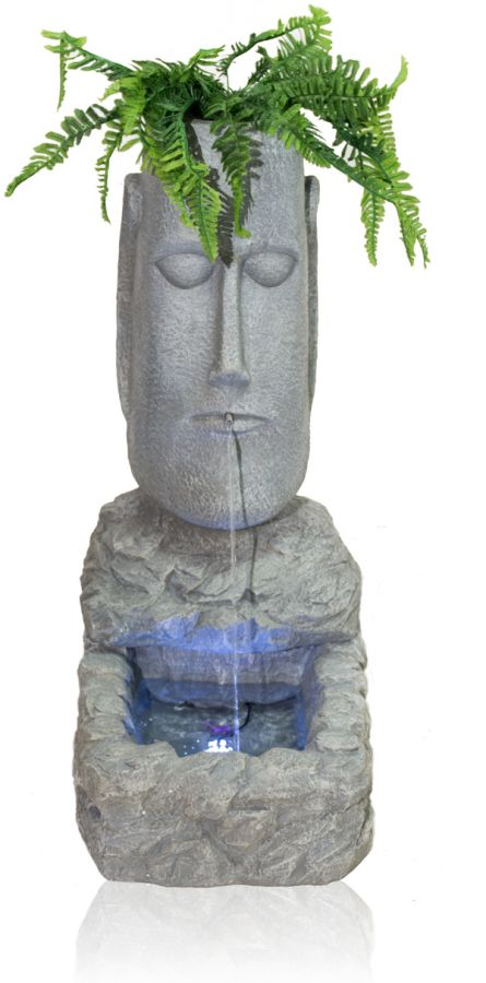 100cm Easter Island Head Water Feature And Planter With