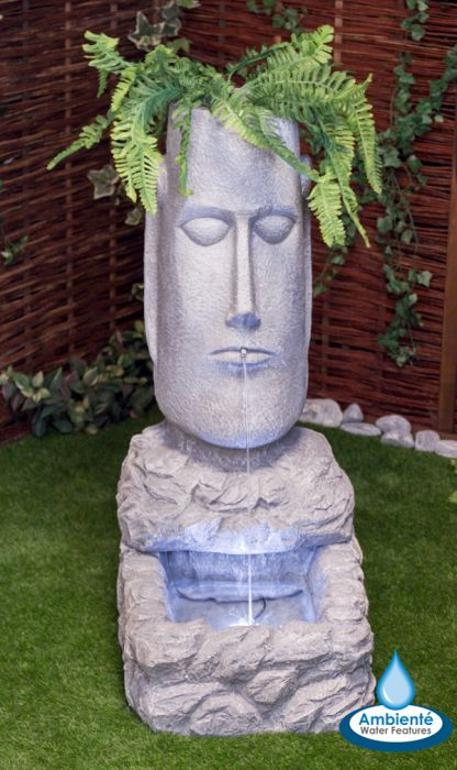 100cm Easter Island Head Water Feature and Planter with LED Lights by Ambienté™