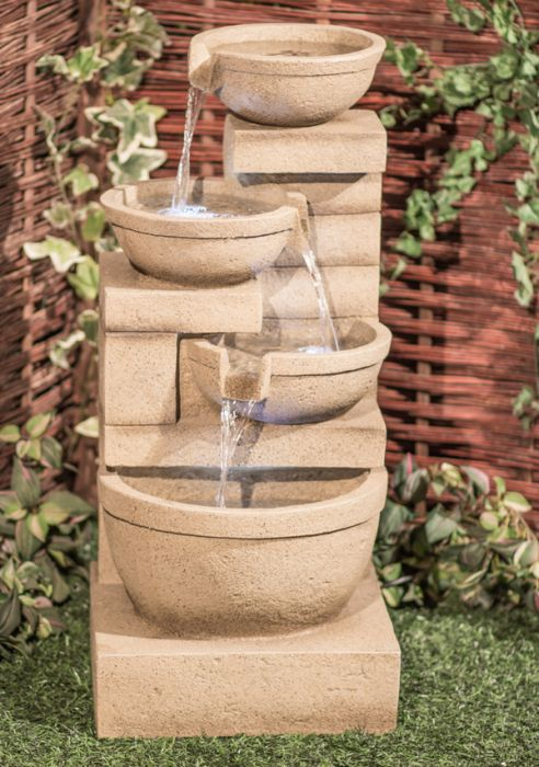 H86cm Kendal Cream 4-Tier Cascade Water Feature with Lights by Ambienté