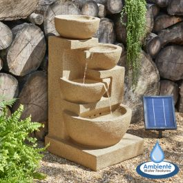 85cm Kendal Cream 4-Tier Cascade Solar Water Feature with Lights by Ambienté™