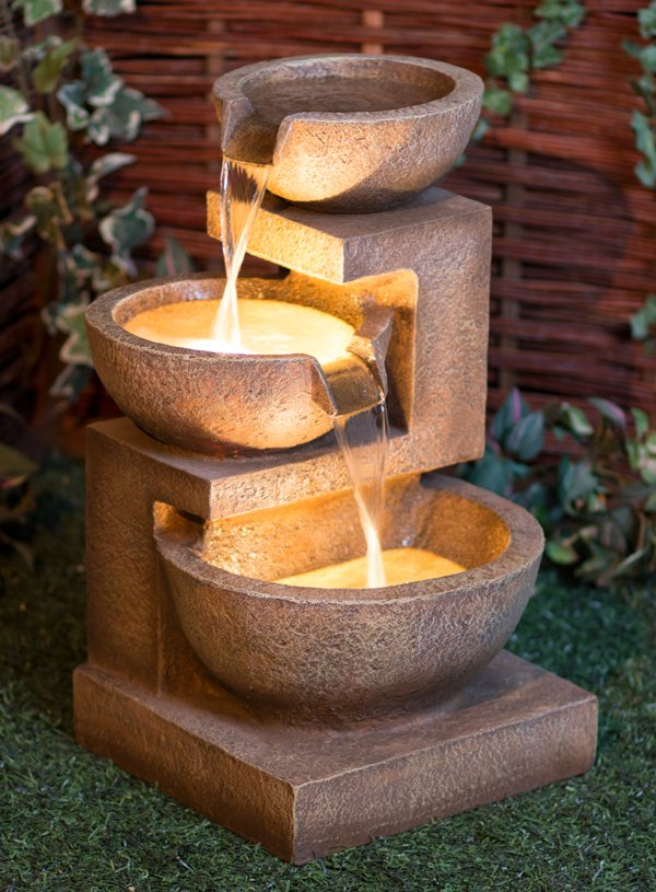 62cm Kendal 3 Tier Cascade Water Feature With Lights By