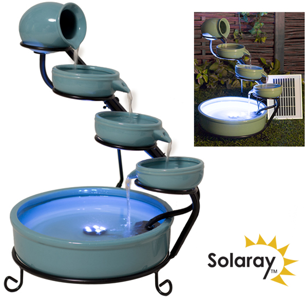 H55cm Myrtos Turquoise Solar Cascading Ceramic Water Feature with Lights by Solaray