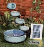 Myrtos Turquoise Solar Ceramic Cascade Water Feature with Battery Backup and LED Lights by Solaray™