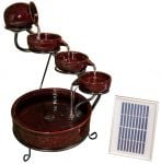 Etna Red Solar Ceramic Cascade Water Feature with Battery Backup and LED Lights by Solaray™