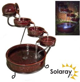55cm Etna Solar Ceramic Cascade Water Feature with LED Lights by Solaray™