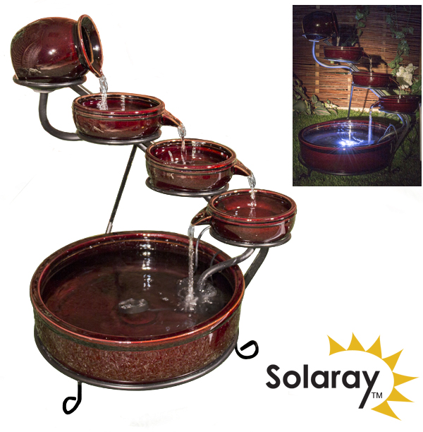 Etna Solar Ceramic Cascade Water Feature with Battery Backup and LED Lights by Solaray™
