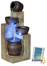 H76cm Juno 4-Tier Cascading Bowls Water Feature with Lights by Solaray