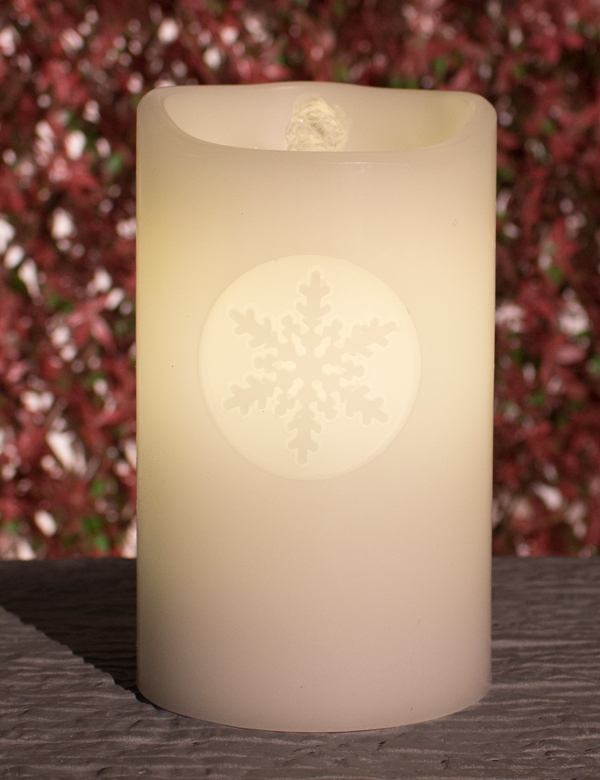 Wax Water Feature Snowflake Candle with LED Lights and Rechargeable USB Battery