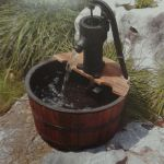 Vintage Pump & Wooden Barrel Water Feature - 63cm