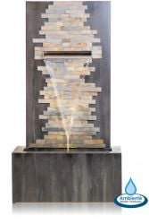 H100cm Dante Zinc & Stone Water Feature with Lights | Indoor/Outdoor Use by Ambienté