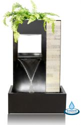 91cm Enzo Zinc and Stone Cascade Water Feature with Planter and LED Lights by Ambienté™