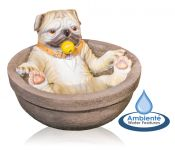 Rufus the Pug in the Bath Water Feature - H40cm by Ambienté™