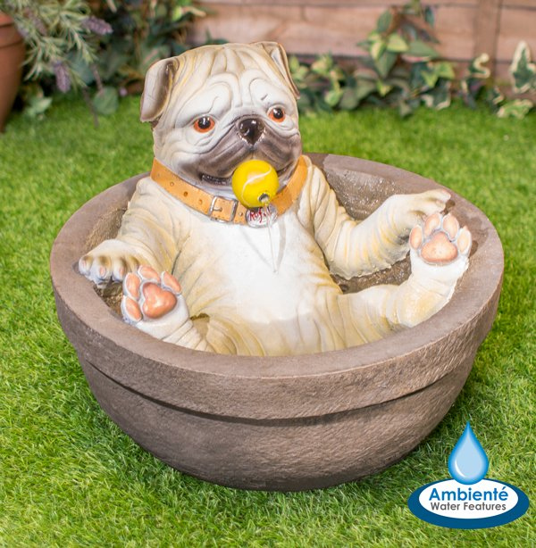 H40cm Rufus the Pug in the Bath Water Feature by Ambienté™