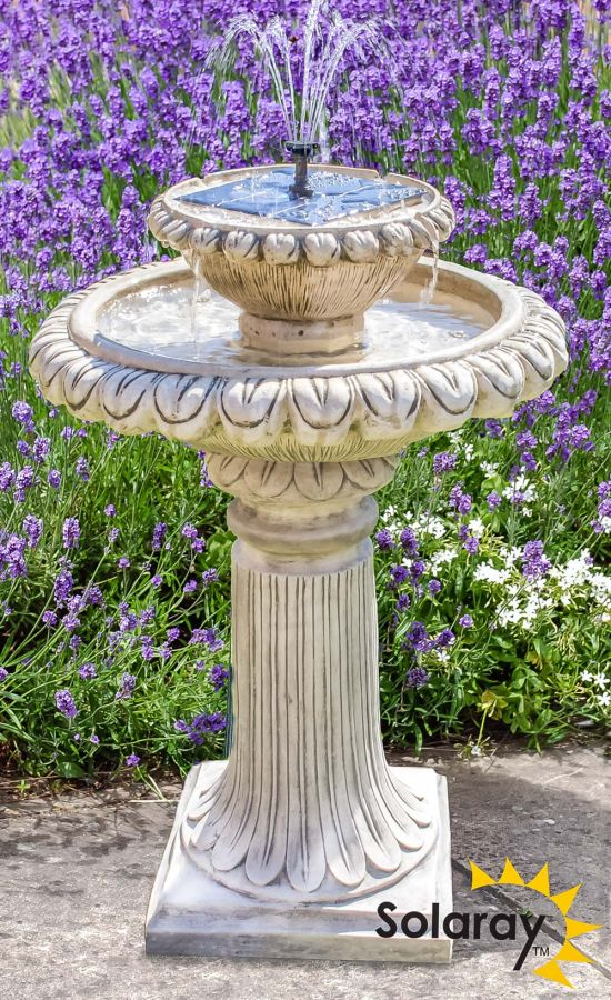79cm Victoriana Antique Caststone™ Solar Bird Bath with Lights by Solaray™