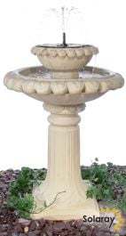 79cm Victoriana Cream Caststone™ Solar Bird Bath with Lights by Solaray™