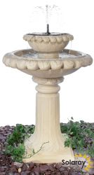 H79cm Victoriana Cream Solar Caststone™ Bird Bath with Lights by Solaray