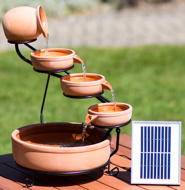 55cm terracotta solar cascade water feature with battery. Black Bedroom Furniture Sets. Home Design Ideas