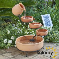 H55cm Terracotta Solar Water Feature with Battery Backup and Lights by Solaray