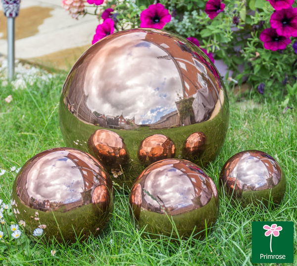 12.6cm Copper Effect Stainless Steel Gazing Globe Sphere
