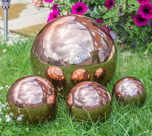Set of 4 Copper Effect Stainless Steel Gazing Globe Sphere