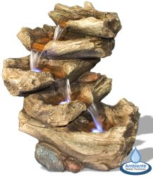 H51cm Nebraska Falls 4-Tier Log Cascade Water Feature with Lights by Ambienté