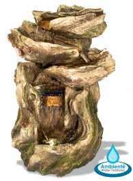 H56cm Cherokee Falls 3-Tier Cascading Water Feature with Lights - by Ambienté