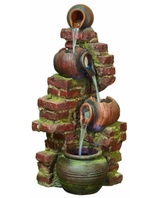 Stone Wall Trickle Water Feature with LED Lights