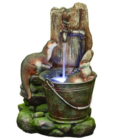 Playful Otters Water Feature with Lights